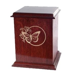 urne funéraire merisier acajou à motifs